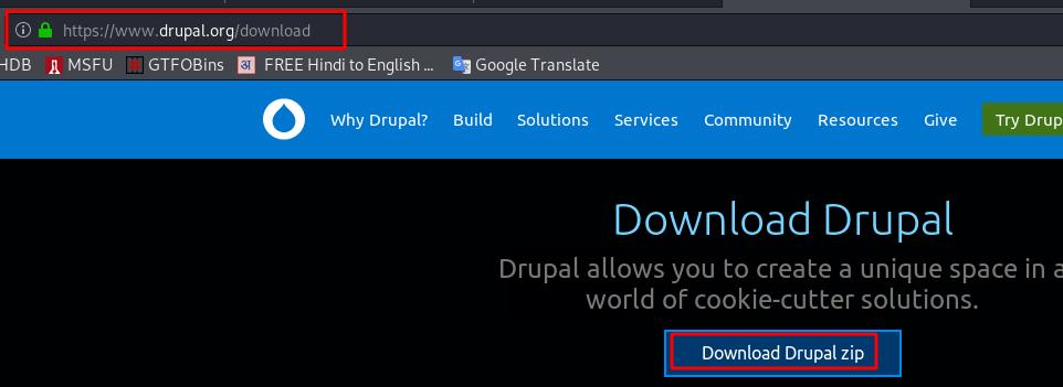 Drupal install Apache