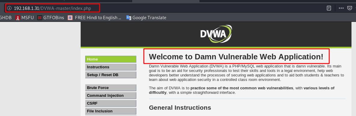 DVWA Setup apache