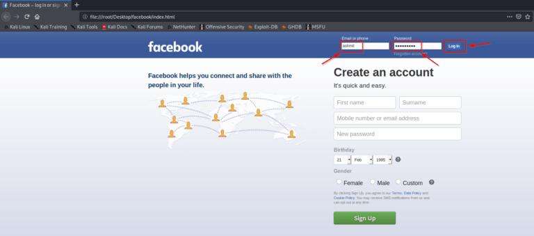 Create facebook phishing page