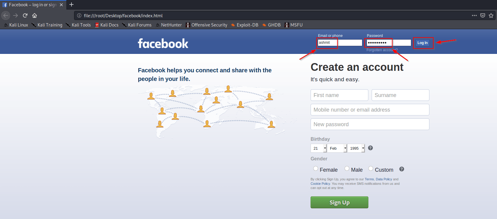 Create facebook phishing page
