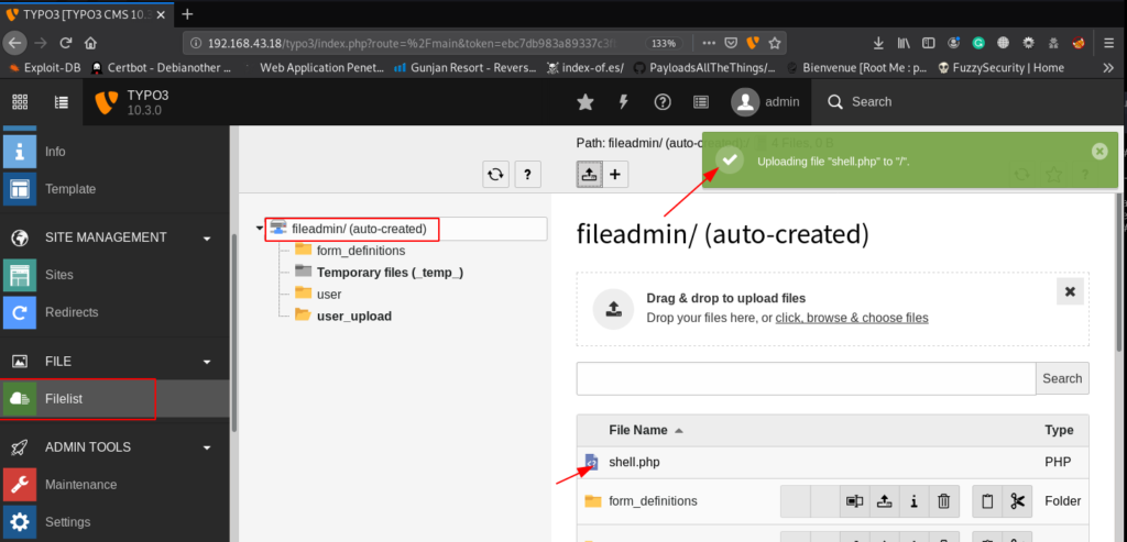 PHP Shell upload typo3 cms