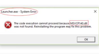 msvcp140 pubg lite error fix msvcp140 dll missing
