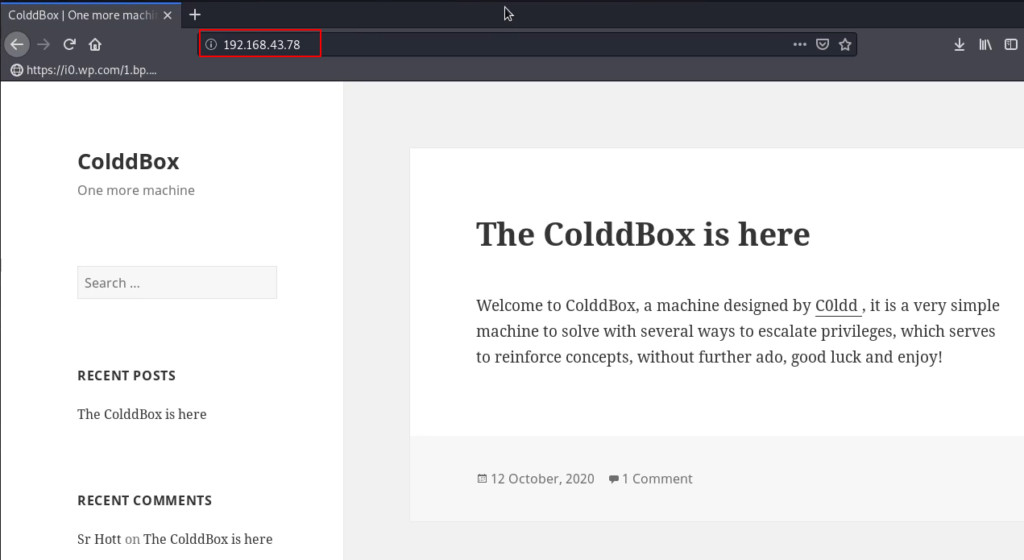 ColddBox Vulnhub Walkthrough